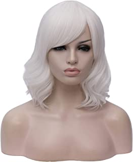 Hairpieces Short Culry Synthetic Hair Cosplay Wigs with Bangs Green Grey Red Purple Black Orange White Blue Pink Wig for W...