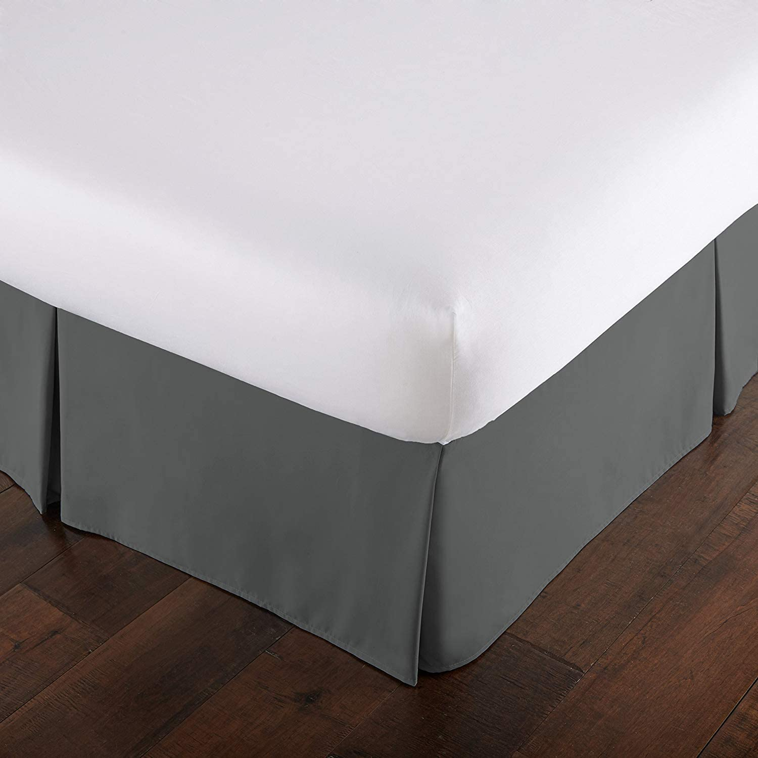 Unique Beddings Cotton Sateen Bed-Skirt (Queen, Grey) with 15 Inch Drop Length - 100% Finest Quality Long Staple Egyptian Cotton - Durable, Comfortable and Abrasion Resistant, Quadruple Pleated, Cotton Blended Platform