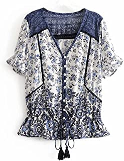 Fyuanmeiinsdxnv Womens tops summer Vintage Chic Women Floral Printed V-neck Mian Blouse Shirts Ladies Short Sleeve Rayon S...