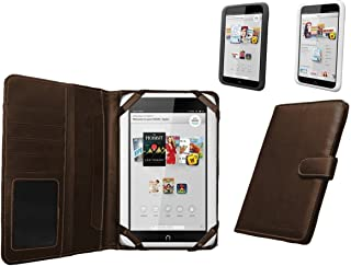 Navitech Brown Faux Leather Case Cover Sleeve Compatible with The Nook HD 7
