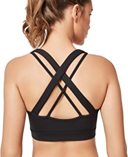 Yvette Low Impact Wireless Yoga Sports Bra for Women with Sexy Strappy Criss Cross X Back for Plus Size