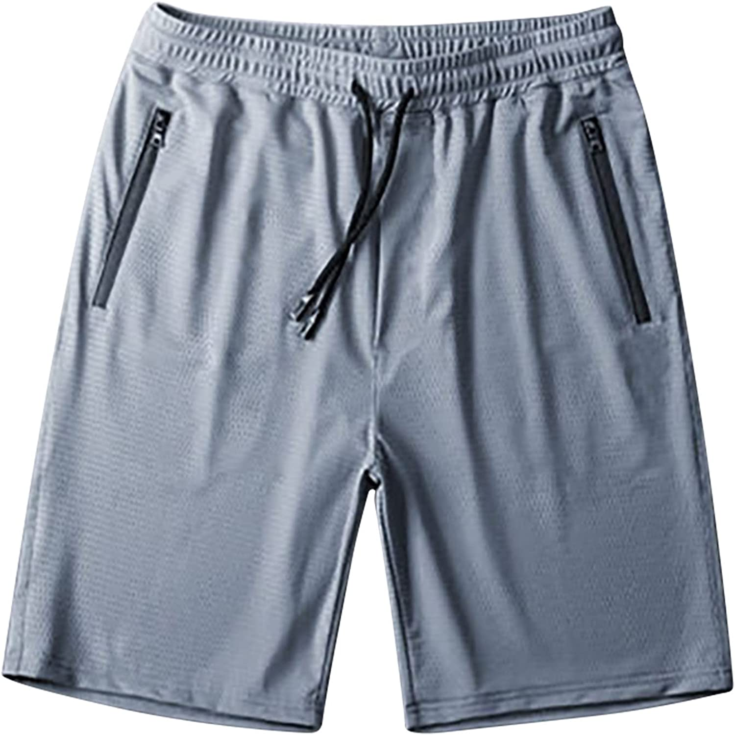 Men's Workout Running Shorts Sports Fitness Gym Training Quick Dry Athletic Performance Shorts with Zip Pockets