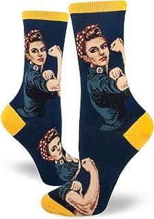 Women's Rosie The Riveter Crew Socks (Fits Most Women Shoe Size 6-10)