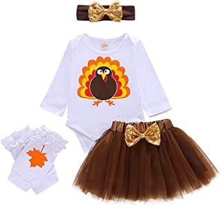 Thanksgiving Day Clothing Kids Baby Girls Newborn Romper Turkey Tops + Tulle Tutu Skirt + Leg Warmers + Headband 4PCS Set
