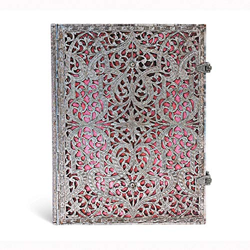 Paperblanks Silberfiligran Kollektion Notizbuch, groß, Flexi Liniert, zartrosa