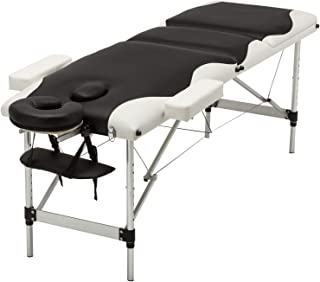Uenjoy Folding Massage Table Professional Folding Massage Bed,3 Fold Black & White Alu