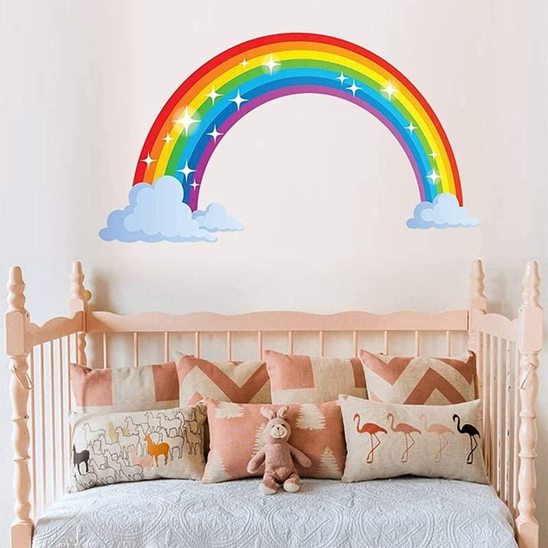 Bamsod Rainbow Wall Decal Kids Wall StickerNursery Home Decor 27 5 X15 7inch