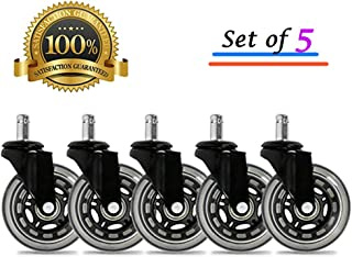 """BF BRIGHTFIELD Universal Office Chair Caster Wheels Set of 5 Heavy Duty & Safe for All Floors Including Hardwood 3"""" Rubber Replacement for Desk Floor Mats"""