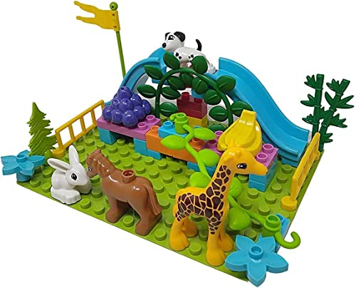 WISHKEY Plastic Animal Figure Park Building Blocks Construction Creative Imaginative Educational Play Set Toys for Kids 3 Years Above Pack of 40 Multicolor