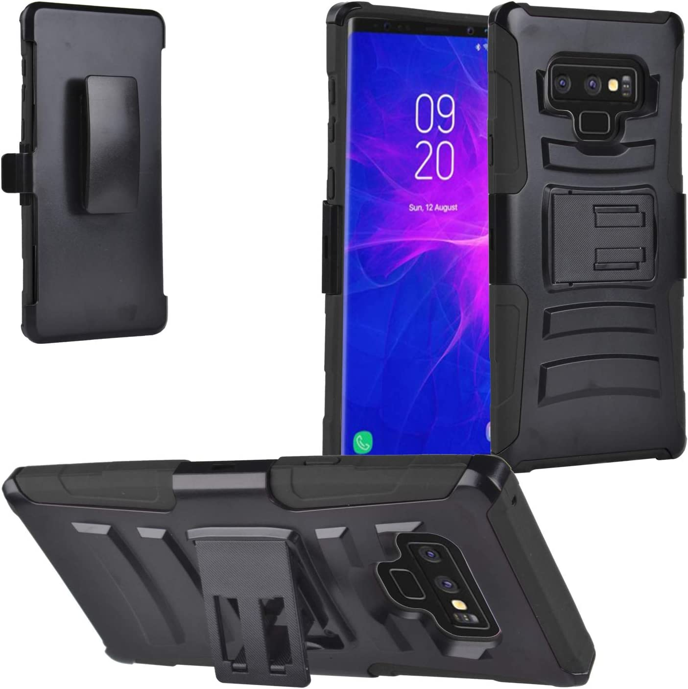 Eaglecell - Compatible with Samsung Galaxy Note 9 SM-N960 Note9 - Hybrid Phone Case w/Stand/Belt Clip Holster + Tempered Glass Screen Protector - CV1 Black