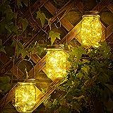 Molbory 3 Stück Solarlampen fur Garten, 30 LED Solar Einmachglas Aussen Lampions, Solar Mason Jar Licht, Lichterkette im Glas, Solar Glas Warmweiß Garten Hängeleuchten für Außen, Party, Wand, Tisch