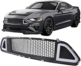 Black Front Bumper Mesh Grille for Ford Mustang 2015 2016 2017 With LED White Lights