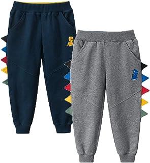Kids Boy Girl Pants Jogger Drawstring 2-Pack Chino Cargo Pant Cotton Casual Fleece Sweatpants Pants