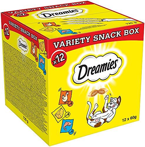 Dreamies Katzensnacks mit verschiedenen Geschmacksrichtungen – Huhn, Käse & Lachs – Außen knusprig & innen cremig – 12 x 60g