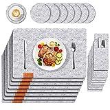 Kuchisity Tischset Filz Platzset, 24er Set Abwaschbar Tischsets, 8 Platzsets (44x32cm) | 8 Untersetzer | 8 Bestecktasche, Abwischbar Platzdeckchen Tischuntersetzer, Platzset für Zuhause (Grau)