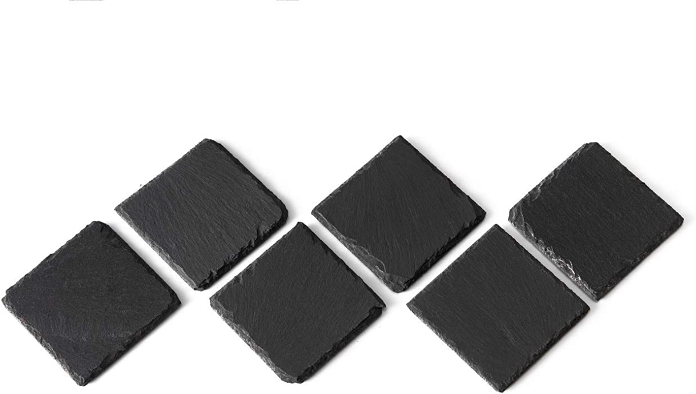 LUXYTOP 6 Pack Natural Slate Stone Coasters Square Black Natural Edge Slate Stone Coasters For Drinks 4 X 4