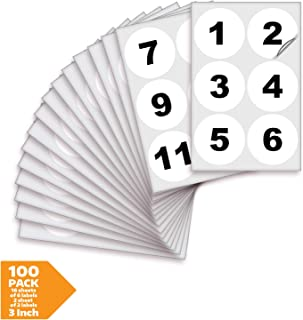 White Vinyl Consecutive Number Stickers - 1 to 100, 3 inch Self-Adhesive - Premium Decal for Indoor & Outdoor, Ideal for Inventory, Storage, Organizing, Great on Boxes, Bins, Toolbox, Lockers & More