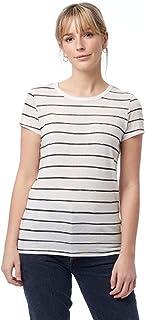 Alternative Women's Ideal Short Sleeve Crew Neck Tee, Ivory Ink Stripe, Medium
