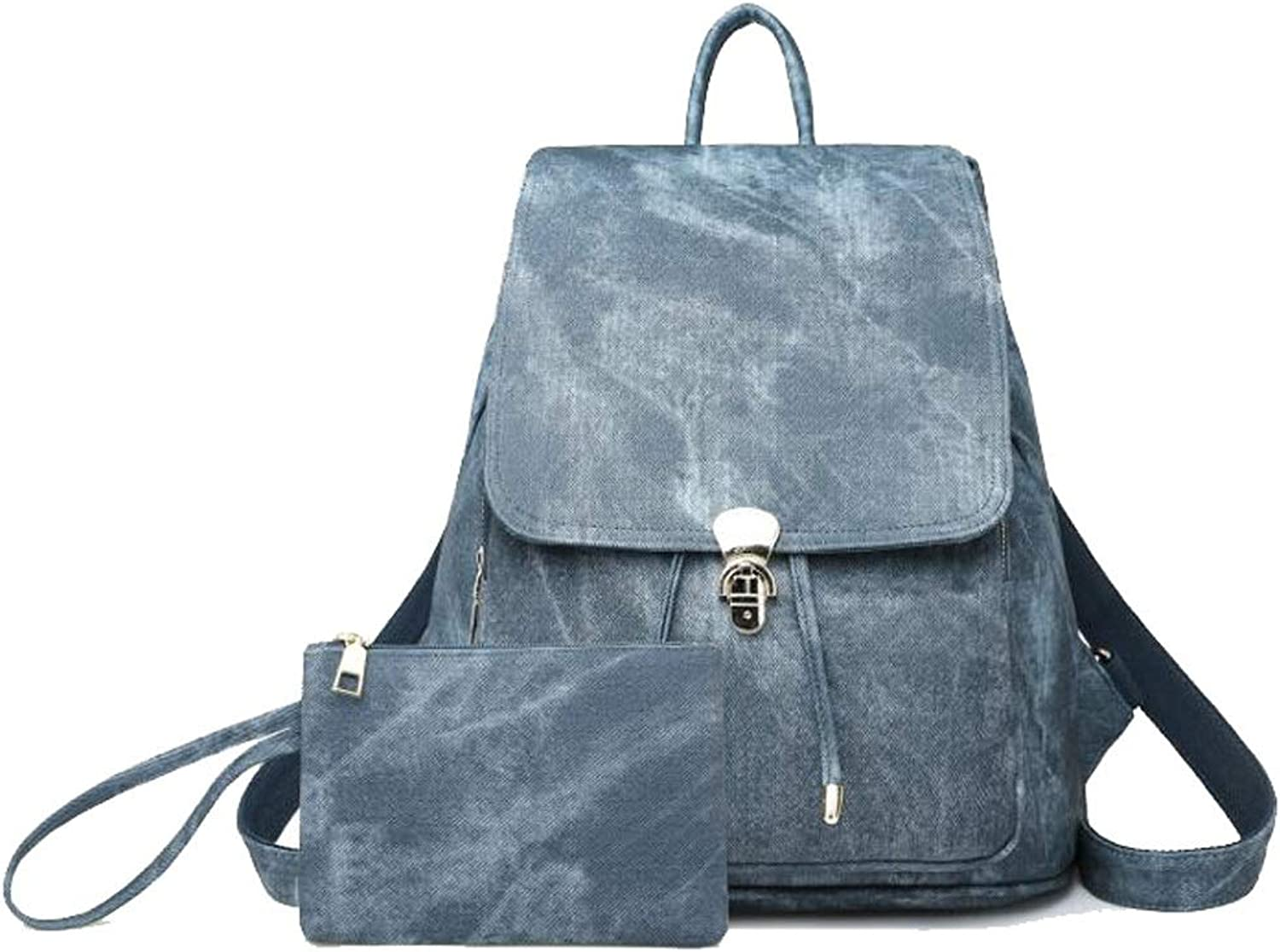 Women Backpack Purse Rucksack Lightweight Lady School Shoulder PU Leather Tote Bag Casual Daypacks (color   blueee, Size   27  20  33cm)