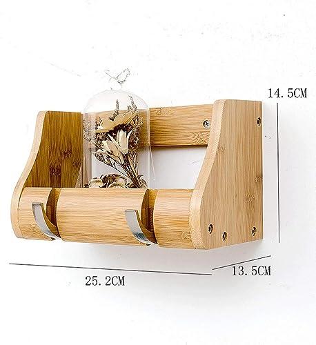 CHX Multifunktionale Kombination Regal - Kleiderst er Schlafzimmer Massivholz Wand Haken Wohnzimmer Storage Hanger CHXSF (Farbe   Holzfarbe, Größe   25.2  13.5  14.5CM)