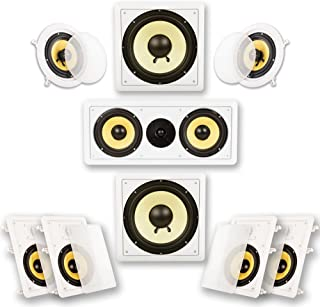 Acoustic Audio by Goldwood Acoustic Audio HD726 in-Wall/Ceiling Home Theater Surround 7.2 Speaker System, White, 6.5-Inch