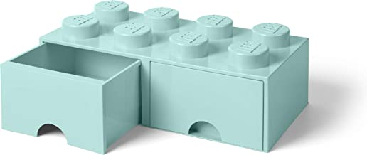 LEGO Brick Drawer, 8 Knobs, 2 Drawers, Stackable Storage Box, Aqua Mint Green