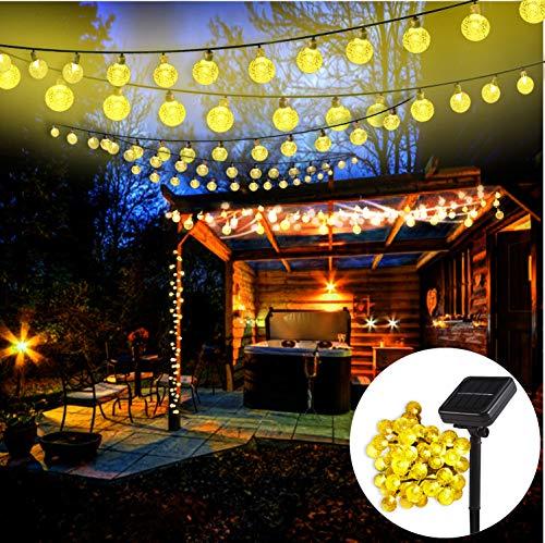 Mr.Twinklelight® 42 LED Solar Lichterkette, 8 Modi 5.7M IP65 Wasserdicht Kristall Kugeln Solar Lichterkette außen für Weihnachtsdeko/Garten/Terrasse/Haus/Party-Warmweiß