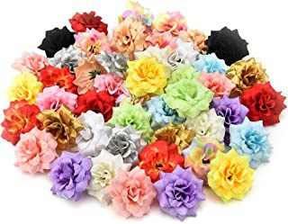 Fake flower heads in bulk wholesale for Crafts Peony Daisy Artificial Flower Home Party Decoration Scrapbooking Accessories Wreath DIY Head Craft Fake Flowers Decor 30PCs 4.5cm (Colorful)
