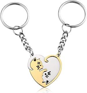 Sunligoo Lot de 2 porte-clés pour couple - En acier inoxydable - Forme de puzzle - Pour homme et femme