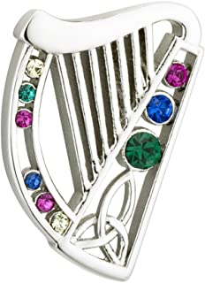 Celtic Harp Brooch Rhodium Plated & Colored Crystals Made in Ireland