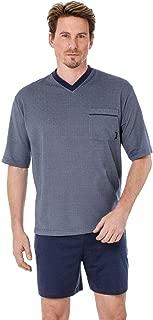 Knopfleiste hajo Herren Schlafanzug kurz Shorty-Pyjama Ozean Premium Cotton