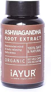 iAYUR Organic Ashwagandha Extract | Tested & Certified 100% Potent, Natural, Pure & Safe - Combat Stress & Anxiety - 500 Mg 60 Veg Caps