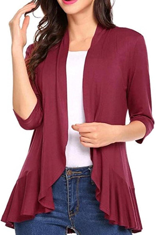 Kcocoo Women's Open Front Kimono Cardigan Coat 3/4 Sleeve Solid Ruffle Hem Lightweight Breathable Outerwear Jackets Coat