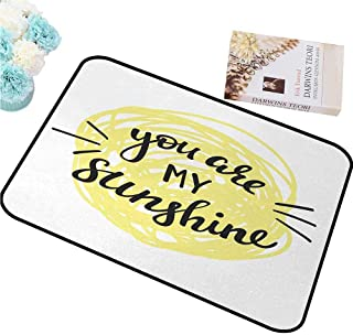 ZWZHI Non-Slip Door Mat Quote,Modern Love Valentines Quote with Hand Drawn Circle Scribbles Romance Symbol,Light Yellow Black, Country Home Decor W30 XL39 18x30(IN)