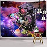 Hexagram Astronaut Tapestries Wall Tapestry Bohemian Hippie Tapestry Fantasy Space Tapestry Wall Hanging Trippy Galaxy Planet Wall Art for Dorm Decorations
