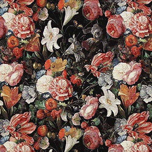Jacquard Gobelin Blütenmeer 1 – schwarz — Meterware ab 0,5m — zum Nähen von Outdoor Deko, Kissen/Tagesdecken & Tischdekoration