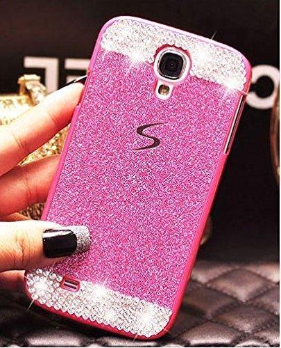 Samsung Galaxy S5 Doopoo TM-Custodia Rigida, Varietà di cristallo di rocca, diamante, con vivace colore Trendy Slider Style-Cover rigida in policarbonato per Samsung Galaxy S5, colore: rosa con bordo, plastica, rosa, Samsung Galaxy S5