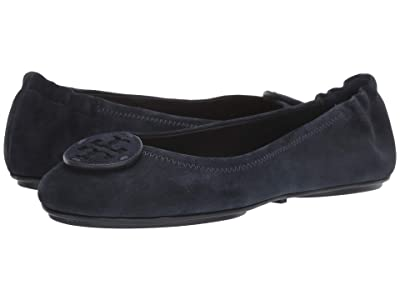 Tory Burch Minnie Travel Ballet with Leather Logo (Perfect Navy/Perfect Navy) Women