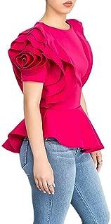 Women Round Neck Ruffle Short Sleeve Peplum Bodycon Blouse Shirts Tops