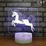 (Nur 1) Wildtiere Pferd USB LED Licht 7 Farbwechsel Kinderzimmerausstattung 3D Nachtlicht Fernbedienung Touch Tischlampe Kindergeschenke Geburtstagsgeschenke