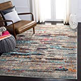 Safavieh Madison Collection MAD419F Boho Abstract Distressed Non-Shedding Stain Resistant Living Room Bedroom Area Rug, 9' x 12', Grey / Turquoise
