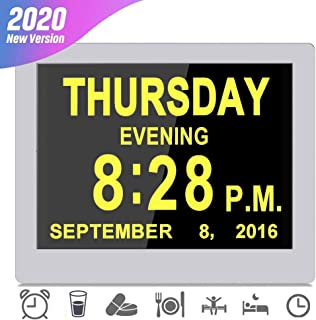 [2020 Upgraded] Digital Day Clocks,16 Reminders,Custom Alarms, Electronic Calendar for Memory Loss Elderly Dementia Sufferers Alzheimers Wall Vision Impaired Patients Kids Room (8'' White)