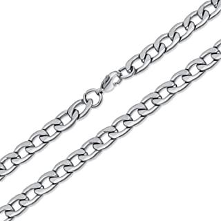 Heavy Duty Biker Jewelry Solid 8MM Curb Link Chain for Men Necklace 14K Gold Plated Silver Tone Stainless Steel 24 30 Inch