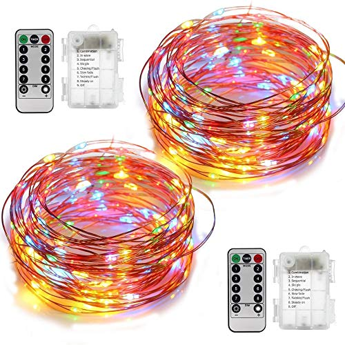 YIHONG 2 Set Multicolor Christmas Fairy Lights Battery Operated,16.4FT 50 LED String Lights, 8 Modes Portable Twinkle Firefly Lights Remote Timer for Bedroom Garden Party Decoration