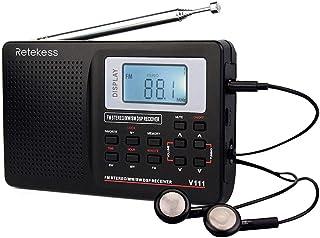comprar comparacion Retekess V111 Radio Portátil FM Am SW, DSP Radio de Bolsillo con Temporizador de Reposo, Radio de Onda Corta con Hora y De...