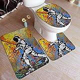 Kcmical El Juego de alfombras de baño Antideslizantes de esgrima de Novedad Incluye tapete de Contorno + tapete de Inodoro + tapete de Piso de 3 Piezas