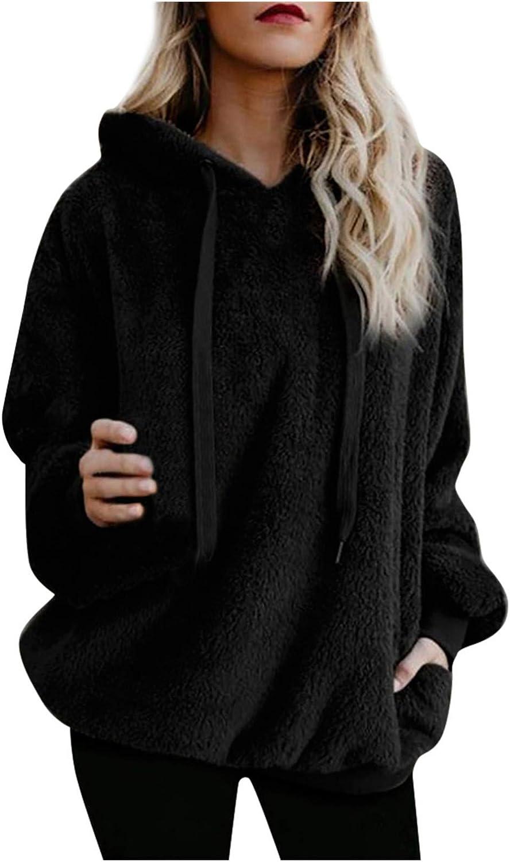 Women's Sweatshirt Winter Warm Furry Wool Hooded Solid Color Long Sleeve Pockets Pullover Hoodies Sweater Blouse
