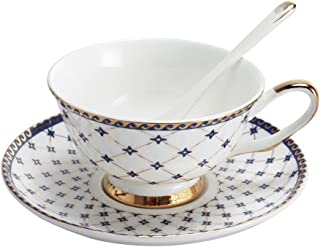 Porlien Exquisite Royal Blue Teacup and Saucer Set with Spoon-6.7Oz, Gold Trimmed, Porcelain, Gift Box Packing