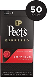 Peet's Coffee Espresso Capsules Crema Scura, Intensity 9, 50 Count Single Cup Coffee Pods, Compatible with Nespresso Original Brewers