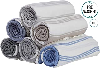 (SET of 6) 100% Turkish Cotton Bath Beach Hammam Towel Peshtemal Throw Foua Blanket Set (Multi4)